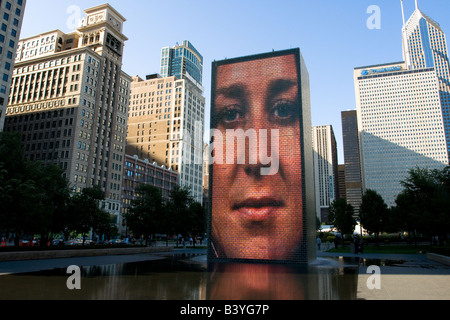 Crown Fountain, part of Millennium Park in Chicago, illinois - Stock Photo