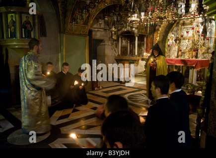 Israel Jerusalem old City Church of Holy Sepulchre Golgotha chapel - Stock Photo