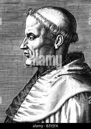 Thomas Aquinas, circa 1225 - 7.3.1274, Italian philosopher and theologit, portrait, side-face, engraving, 19th century, - Stock Photo