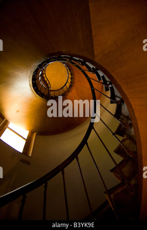 Spiral staircase Chateau d'Azay le Rideau, Loire Valley, France - Stock Photo