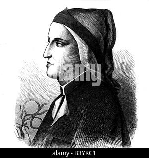 Dante, Alighieri, 1265 - 14.9.1321, Italian poet, portrait after an original from Florence, Artist's Copyright has - Stock Photo