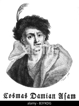 Asam, Cosmas Damian, 28.9.1686 - 10.5.1742, German painter, sculptor and architect, portrait, wood engraving, 19th - Stock Photo