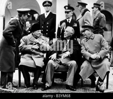 events, Second World War / WWII, conferences, Yalta Conference, 4.2.1945 - 11.2.1945, interpreter Vladimir Pavlov, - Stock Photo