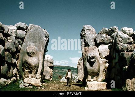 geography / travel, Turkey, Bogazkoey (Hattuscha, capital of the Hittite 18th century. BC) lion gate, western side, - Stock Photo