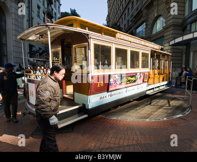 A worker turns the Cable Car around in San Francisco CA California at the end of Powell Street - Stock Photo