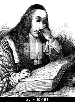 Spinoza, Benedictus (Baruch) de, 24.11.1632 - 21.2.1677, Dutch philosopher, half length, reading, lithography, - Stock Photo