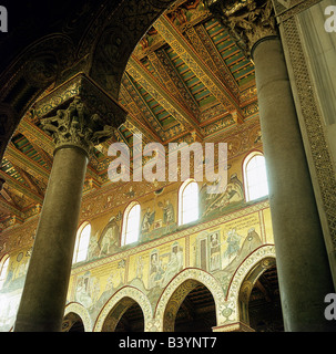 geography / travel, Italy, Sicily, Monreale, church, church, cathedral Santa Maria La Nuova, built 1174 - 1189 AD, under King Wilhelm II. of Sicily, interior view, columns and mosaics, mixture of byzantine, arabian and norman architecture, Middle Ages, historical, historic, ancient, fine arts, mosaic, column, capital, window, round arch, Romance church, medieval,