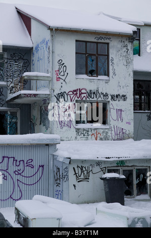 Graffiti covered house in wintertime, Reykjavik, Iceland - Stock Photo