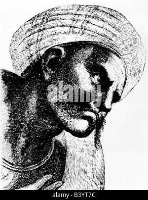 Averroes (Abdul Walid Muhammed Ibn Ahmad Ibn Rushd), 1126 - 10.12.1198, Andalusian philosopher, portrait, detail - Stock Photo