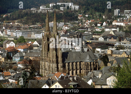 geography / travel, Germany, Hesse, Marburg, city view, cityscape, look at the town with St. Elisabeth church (the oldest gothic style church of Germany), , Stock Photo