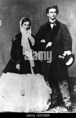 Louis II, 25.8.1845 - 13.6.1886, King of Bavaria 10.3.1864 - 13.6.1886, with fiancee Princess Sophie in Bavaria, - Stock Photo