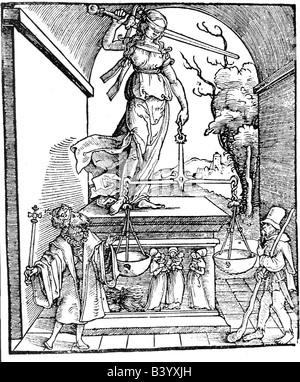 Justitia, Roman goddess of justice, cover 'Entfernungen der Statuten der Reichstadt Worms' Frankfurt 1531, ('moving - Stock Photo