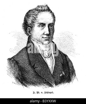 Schlegel, August, Wilhelm, von, 8.9.1767 - 12.5.1845, German author / writer and translator, portrait, engraving, - Stock Photo