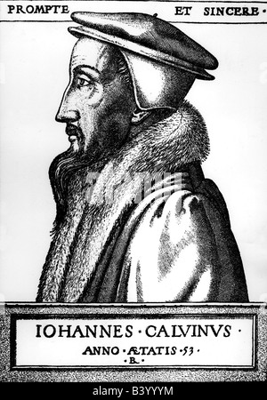Calvin, John, 10.7.1509 - 27.5.1564, French Reformator, portrait, copper engraving, Geneve, 1552, , Artist's Copyright - Stock Photo