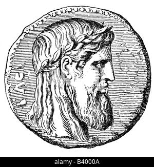 Zeus (latin Jupiter), greek 'divine king', leader of gods, god of sky and thunder, portrait, coin, Elis, , Additional - Stock Photo