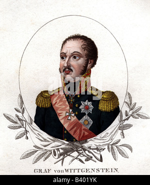 Wittgenstein, Ludwig Adolf von, 5.1.1769 - 11.6.1843, Russian General, portrait, coloured steel engraving, 19th - Stock Photo
