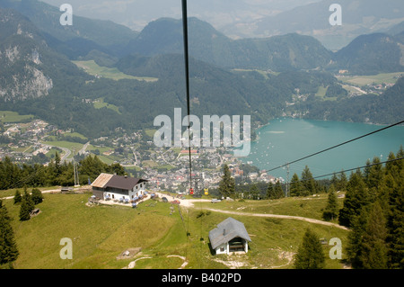Austria Upper Austria Salzburg St Gilgen and Lake Wolfgang in the Dachstein Mountains A scenic view from the mountain - Stock Photo