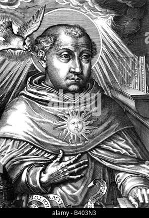 Thomas Aquinas, circa 1225 - 7.3.1274, Italian philosopher and theologit, half length, steel engraving by Leonard - Stock Photo