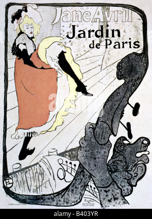 fine arts - Toulouse-Lautrec, Henri de (1864 - 1901), poster for Jardin de Paris, with dancer Jane Avril, 1893 19th - Stock Photo