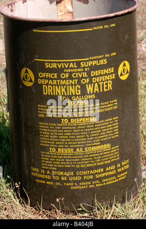 Civil Defense drinking water container from a fallout shelter - Stock Photo