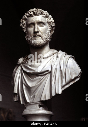 Antoninus Pius, 86 - 161 AD, Roman emperor since 138 AD, portrait, bust, marble, Glyptothek, Munich, Additional - Stock Photo
