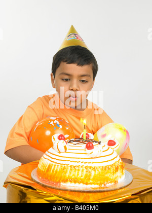 asian boy celebrating birthday - Stock Photo