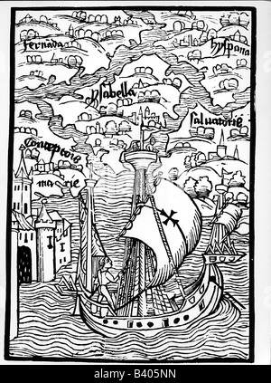Columbus, Christopher, 1451 - 20.5.1506, Italian explorer, arriving in Hispaniola, 1492, contemporary woodcut, Basel, - Stock Photo