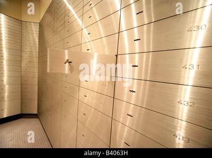 Open safe deposit box - Stock Photo