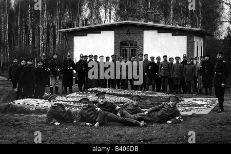 events, First World War / WWI, Ostfront, Russian prisoners of war with German guards, postcard, stamped in Breslau, - Stock Photo