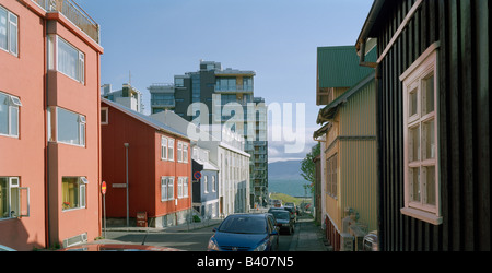 From the old part of Reykjavik, Iceland.  New condominiums in the background - Stock Photo