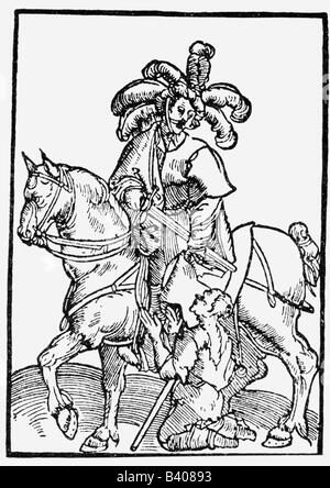 Martin of Tours, circa 316 - 8.11.397, saint, bishop, half length, woodcut, based on Lucas Cranach, Artist's Copyright - Stock Photo