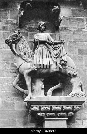 Martin of Tours, circa 316 - 8.11.397, saint, bishop, half length, sculpture, copy, Basel Muenster, Switzerland, - Stock Photo