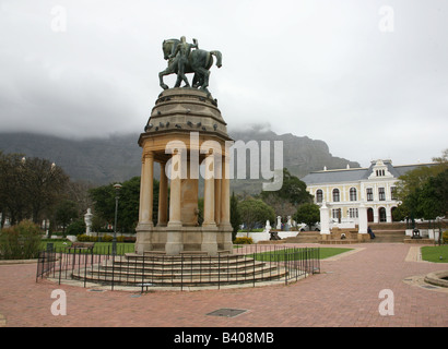 A statue of a horse and rider in the Company's gardens, Cape Town, South Africa - Stock Photo