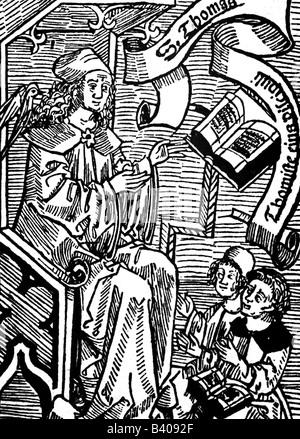 Thomas Aquinas, circa 1225 - 7.3.1274, Italian philosopher and theologit, full length, as teacher, woodcut, title - Stock Photo