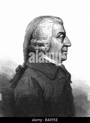 Smith, Adam, 5.6.1723 - 17.7.1790, Scottish economist, profile, portrait, engraving , Artist's Copyright has not - Stock Photo