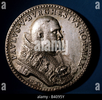 Paul V (Camillo Borghese), 17.9.1552 - 28.1.1621, Pope  16.5.1605 - 28.1.1621, portrait, medal, Rome, 1608, front - Stock Photo