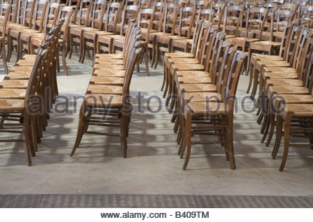 Rows Of Old Style Wooden Chairs In Church St Eustache France Paris   Stock  Photo
