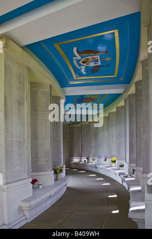 Air Forces Memorial Runnymede - Walkway to East Lookout with Inscribed Panels and Ceiling Coats of Arms - Stock Photo