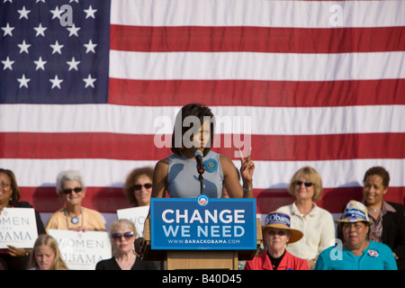 Michelle Obama speaks to supporters at a UVA rally. - Stock Photo