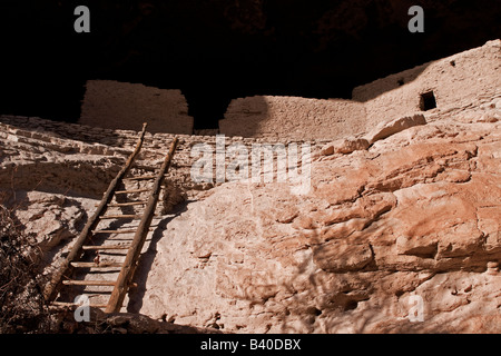 Gila Cliff Dwellings National Monument, New Mexico - Exterior View - Stock Photo