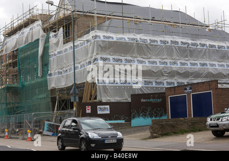 New build flats and shops Woodford East London GB UK - Stock Photo