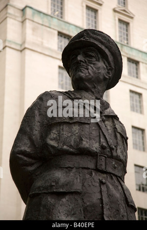 The statue of Viscount Alan Brooke in London, England. He was a Field Marshal and advisor to Churchill during World - Stock Photo