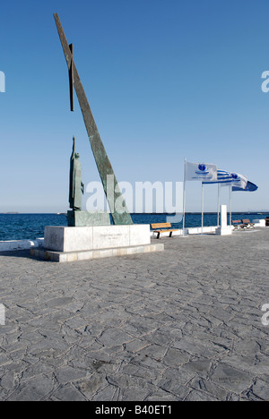 The pythagoras Statue at the port of Pythagorion, samos island, greece 2008. - Stock Photo