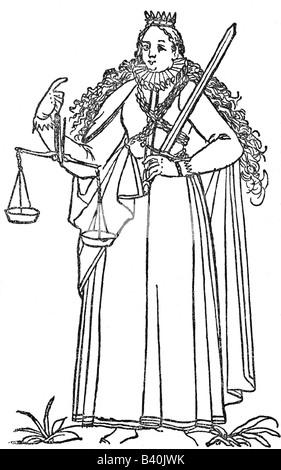 Justitia, Roman goddess of justice, symbols, symbol, scale, sword,  engraving circa 1580, history, , Additional - Stock Photo