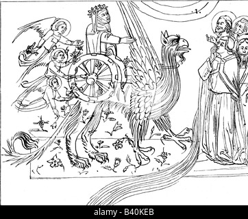 Dante, Alighieri, 1265 - 14.9.1321, Italian poet, works, illustration from 'The Divine Comedy', encounter with Beatrice, - Stock Photo