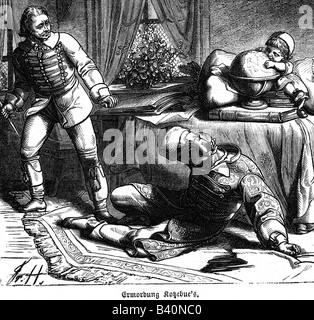 Kotzebue, August von, 3.5.1761 - 23.3.1819, German author/writer, death, murdered by Karl Ludwig Sand, engraving, - Stock Photo