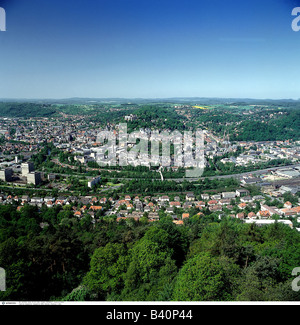 geography / travel, Germany, Hesse, Marburg / Lahn, city view, cityscape, overview, Stock Photo