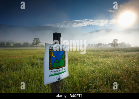 mist lying on the fields around Campi in the Valnerina, Monti Sibillini National Park, Umbria, Italy - Stock Photo
