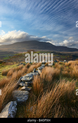 a stone wall above the Glyn Lledr near Dolwyddelan with Moel Siabod beyond, Snowdonia National Park, North Wales, - Stock Photo