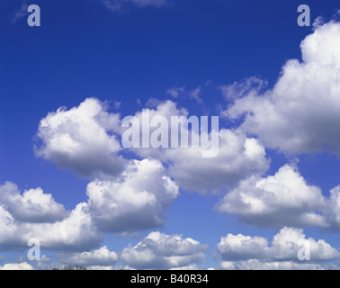 Puffy white clouds against vivid blue sky - Stock Photo